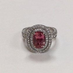 The Stephen Silver 3.14 carat Oval Padparadscha Sapphire Ring.
