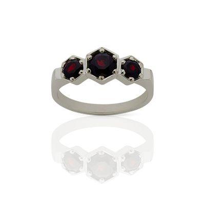 Meadowlark hexagon three-stone ring