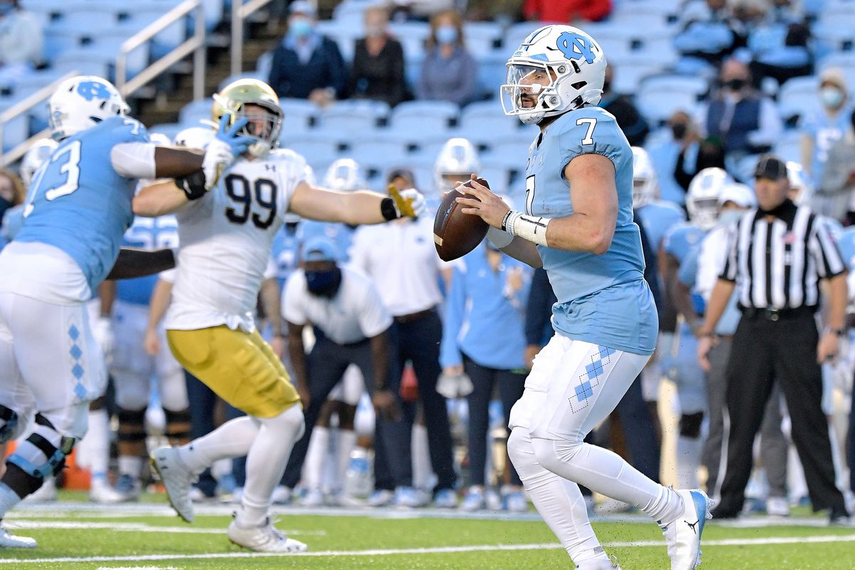 Sam Howell of the North Carolina Tar Heels looks to pass against the Notre Dame Fighting Irish during the first half of their game at Kenan Stadium on November 27, 2020 in Chapel Hill, North Carolina.