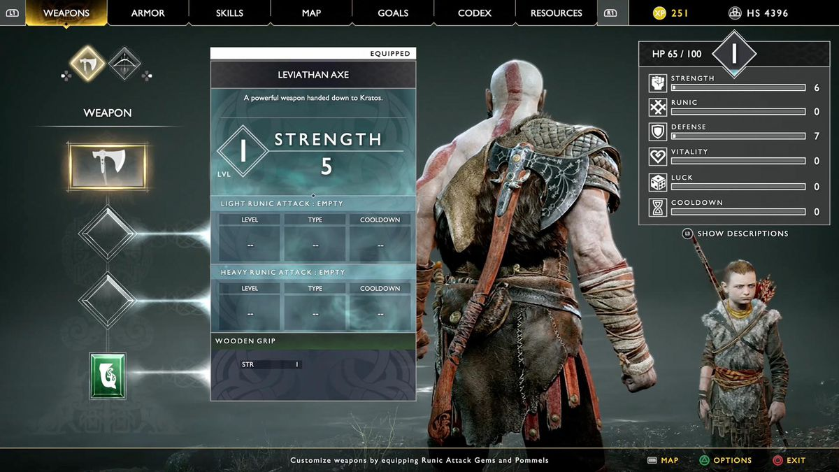 God of War - Kratos stats screen showing weapons