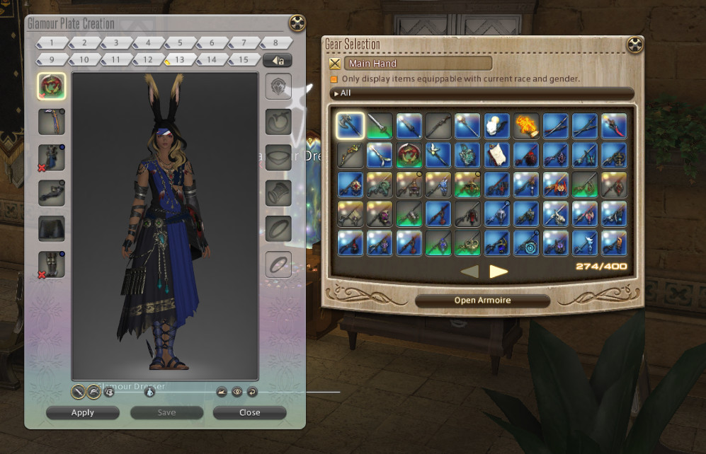 A Final Fantasy 14 menu screen that shows both the Glamour Dresser and Glamour Plates open