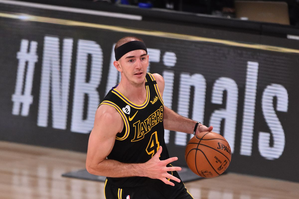 Alex Caruso of the Los Angeles Lakers dribbles the ball against the Miami Heat during Game Five of the NBA Finals on October 9, 2020 in Orlando, Florida at AdventHealth Arena.
