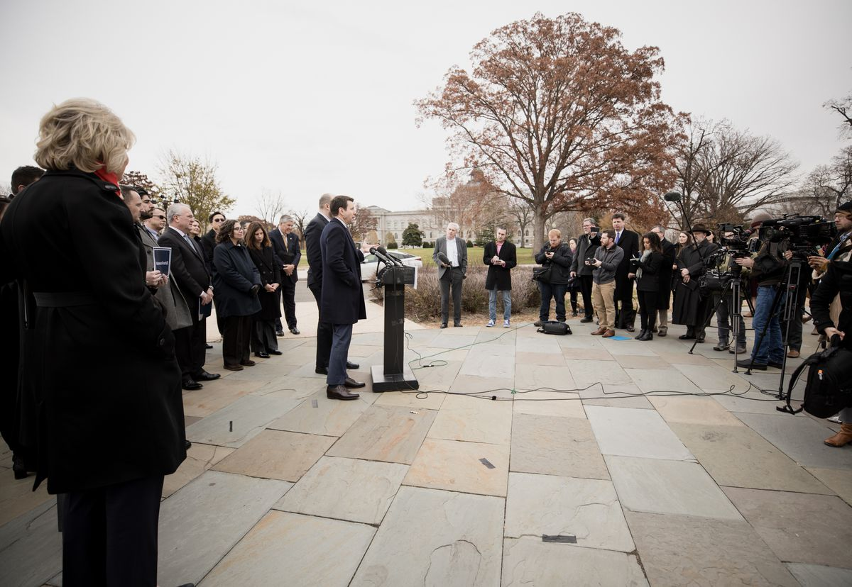 After Congressman Chris Stewart, R-Utah, introduced his latest legislation, the Fairness for All Act, which aims to harmonize religious freedom and LGBT rights, speakers Tim Schultz, near, and Tyler Deaton address the media at the U.S. Capitol in Washington, D.C., on Friday, Dec. 6, 2019.