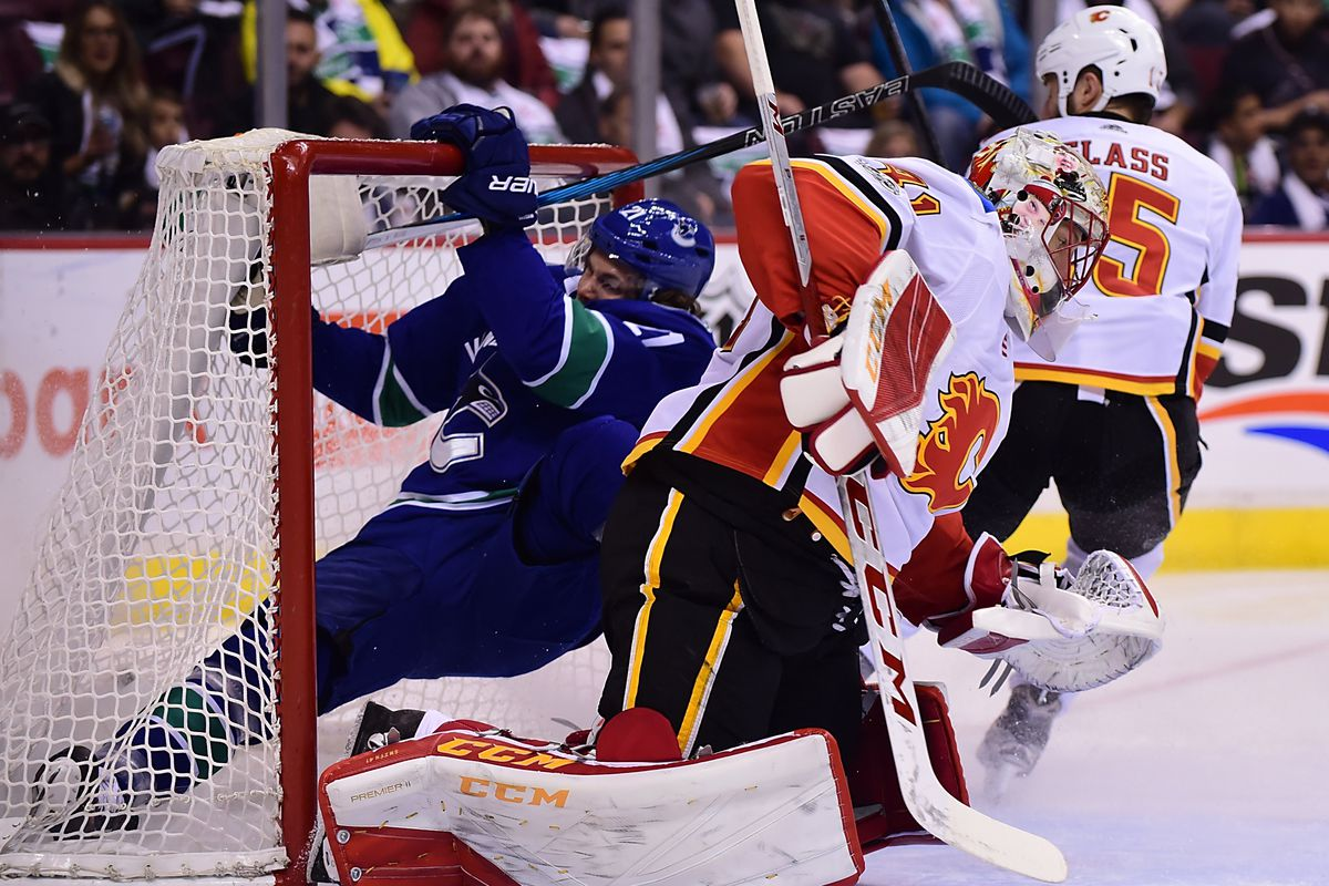 Canucks Forward Loui Eriksson shoots himself past Mike Smith instead of the puck.
