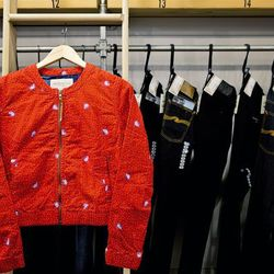 """Obey cropped red jacket, $94. """"This cropped jacket is the perfect length—not too cropped—to wear with high-waisted pants,"""" Ridge said. """"It's a fun, easy, effortless addition to the simple luxury basics that SF women like to wear."""""""