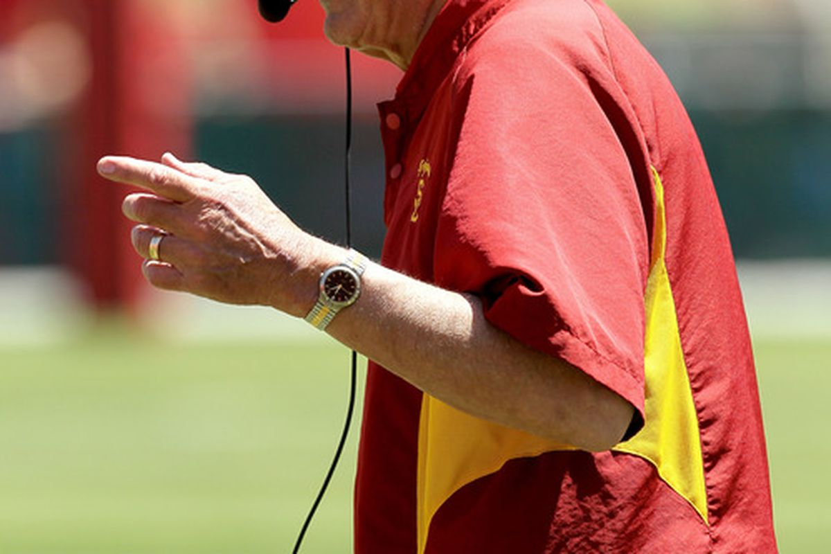 LOS ANGELES, CA - MAY 01:  Assistant head coach Monte Kiffin on the sidelines during the  USC Trojans spring game on  May 1, 2010 at the Los Angeles Memorial Coliseum in Los Angeles, California.   (Photo by Stephen Dunn/Getty Images)
