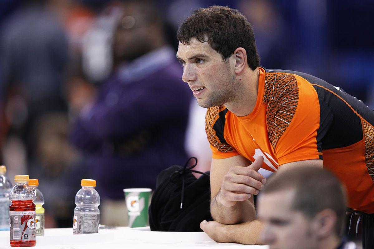 INDIANAPOLIS, IN - FEBRUARY 26: Quarterback Andrew Luck of Stanford looks on during the 2012 NFL Combine at Lucas Oil Stadium on February 26, 2012 in Indianapolis, Indiana. (Photo by Joe Robbins/Getty Images)