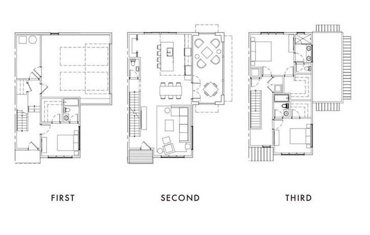 A floorplan of three levels shown in black and white.