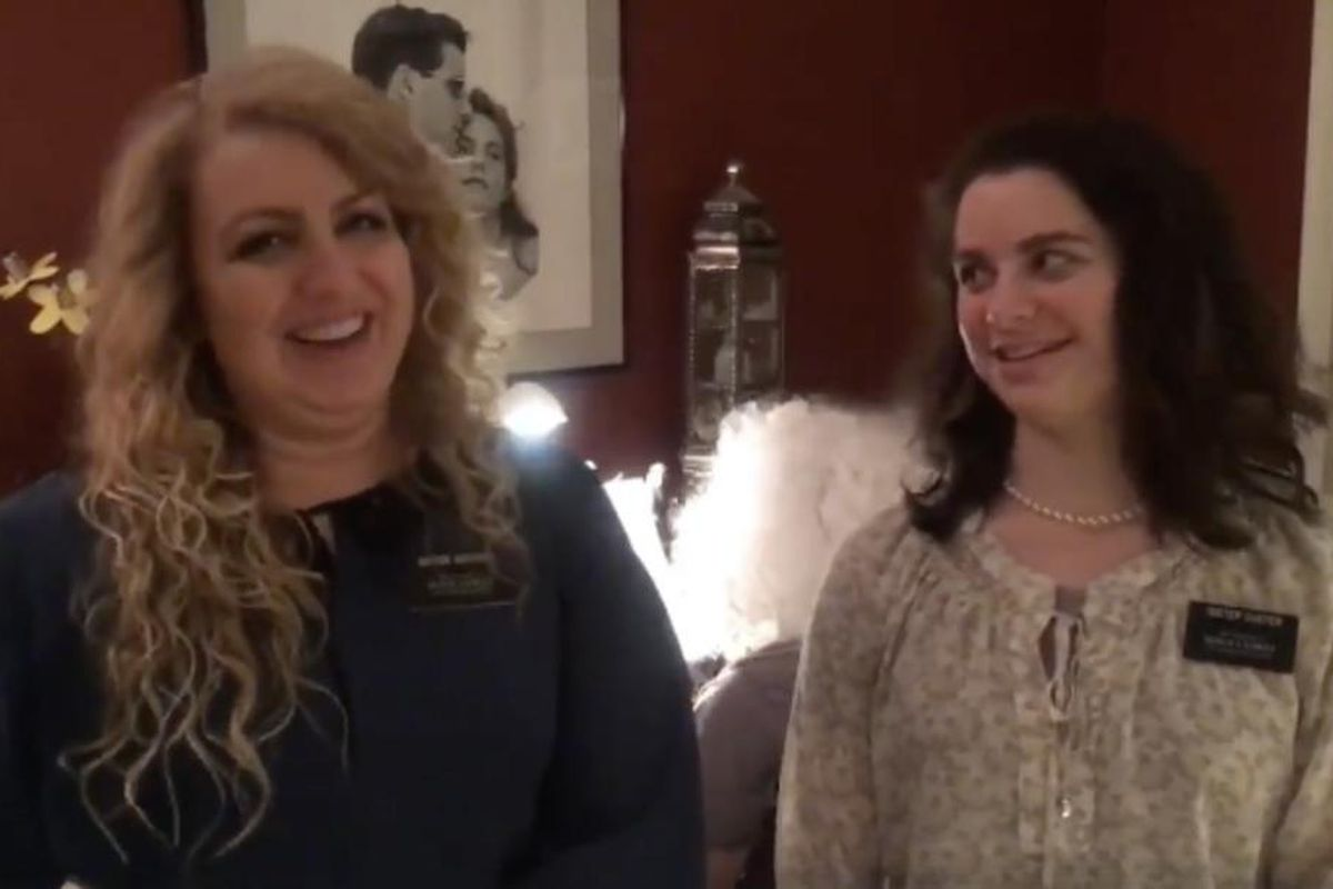 """LDS sister missionaries, Sisters Goodwin and Custer from the Baltimore Maryland Mission, perform a personalized version of """"The Twelve Days of Christmas."""""""
