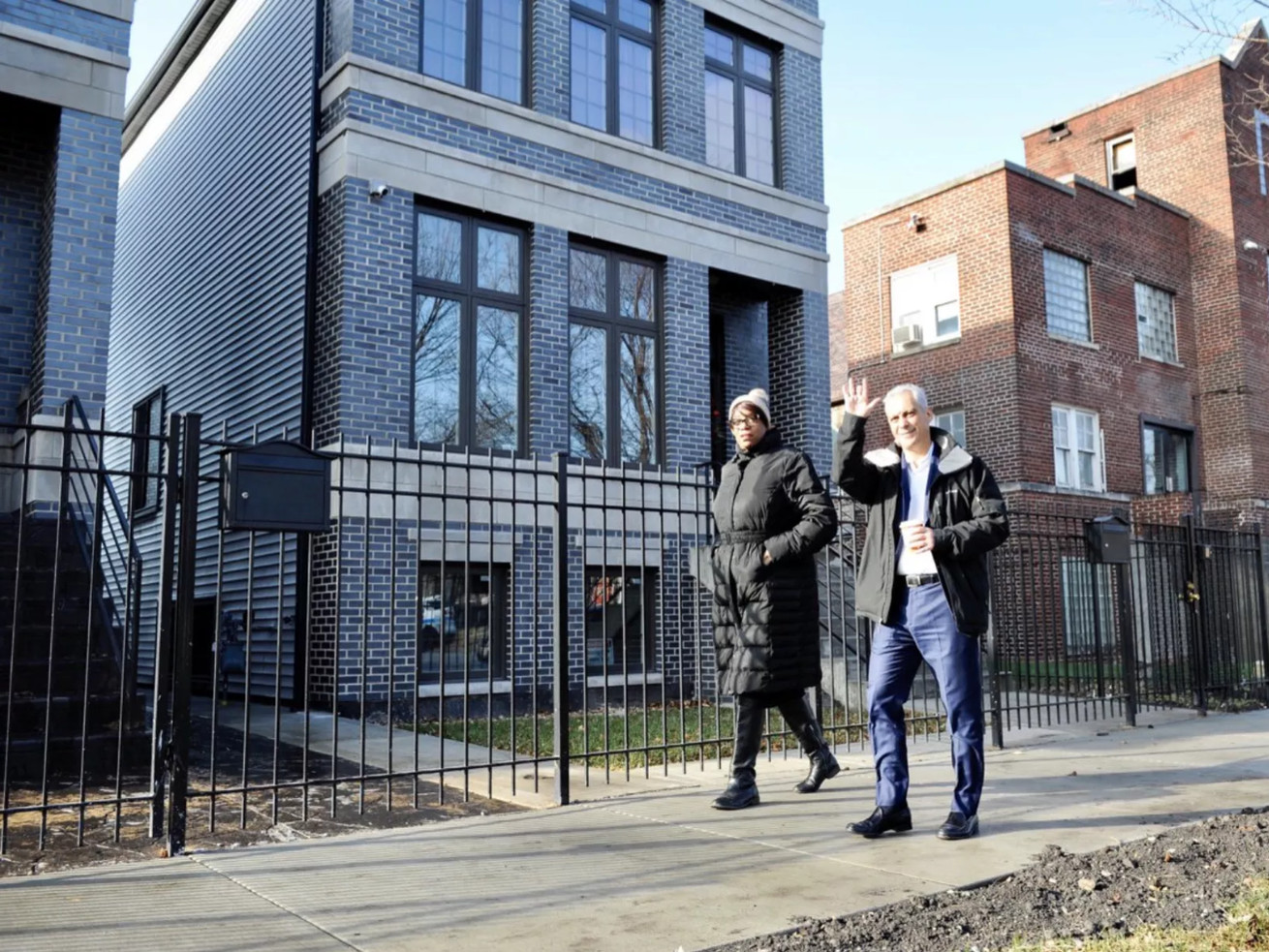 Mayor Emanuel and Alderman Pat Dowell tour the completed Third Ward Parade of Homes in Bronzeville in December.