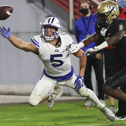 Brigham Young Cougars wide receiver Dax Milne (5) can't come up with the catch during the Boca Raton Bowl in Boca Raton, Fla., on Tuesday, Dec. 22, 2020. Interference was called on the play.
