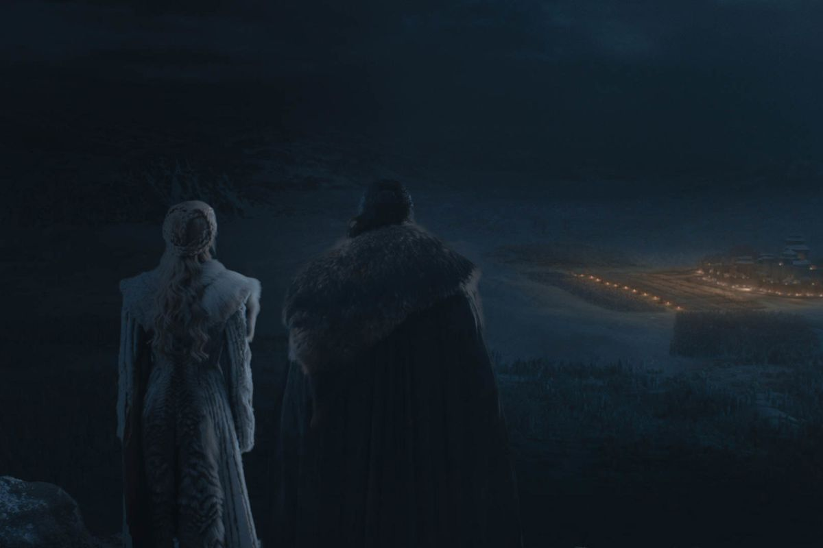 Game of Thrones season 8, episode 3 - Jon and Dany at the Battle of Winterfell