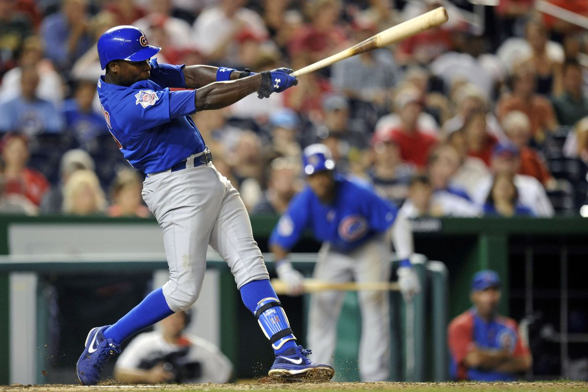 Washington, D.C., USA; Chicago Cubs left fielder Alfonso Soriano hits a solo home run against the Washington Nationals at Nationals Park. Credit: Joy R. Absalon-US PRESSWIRE