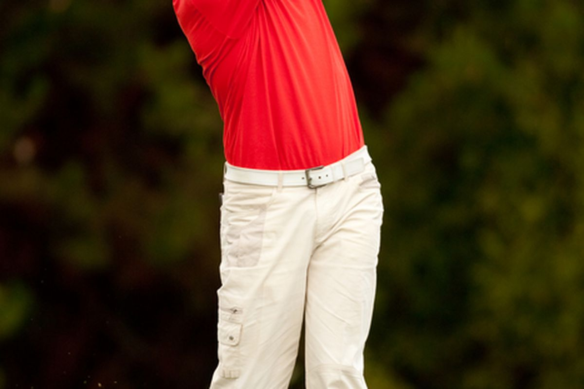 SUNRIVER OR - AUGUST 22: Bernhard Langer of Germany  follows through on a tee shot during the final round of the Jeld-Wen Tradition at the Crosswater Club at Sunriver on August 22 2010 in Sunriver Oregon. (Photo by Darren Carroll/Getty Images)