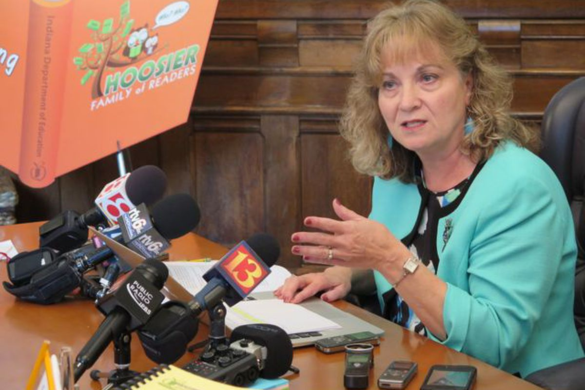 State Superintendent Glenda Ritz speaks with reporters after Indiana's request for a waiver from some rules of the federal No Child Left Behind law was approved in 2014.