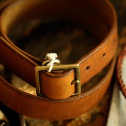 Handmade leather belt, $88
