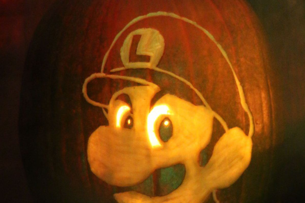 Carve A Luigi Death Stare Pumpkin For Halloween With This