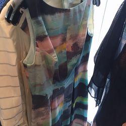 Watercolor print sheath dress, $95