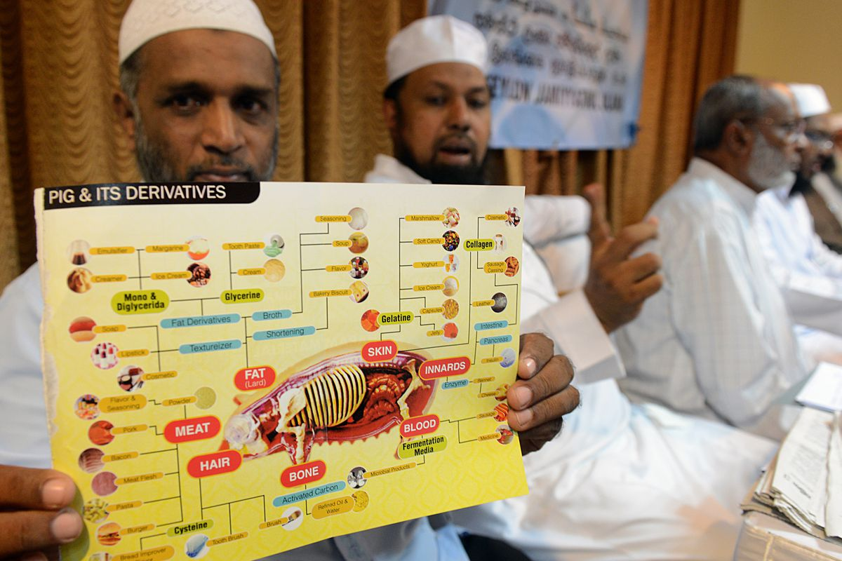 A Sri Lankan Islamic cleric holds up a poster showing pork that is forbidden for Muslims.