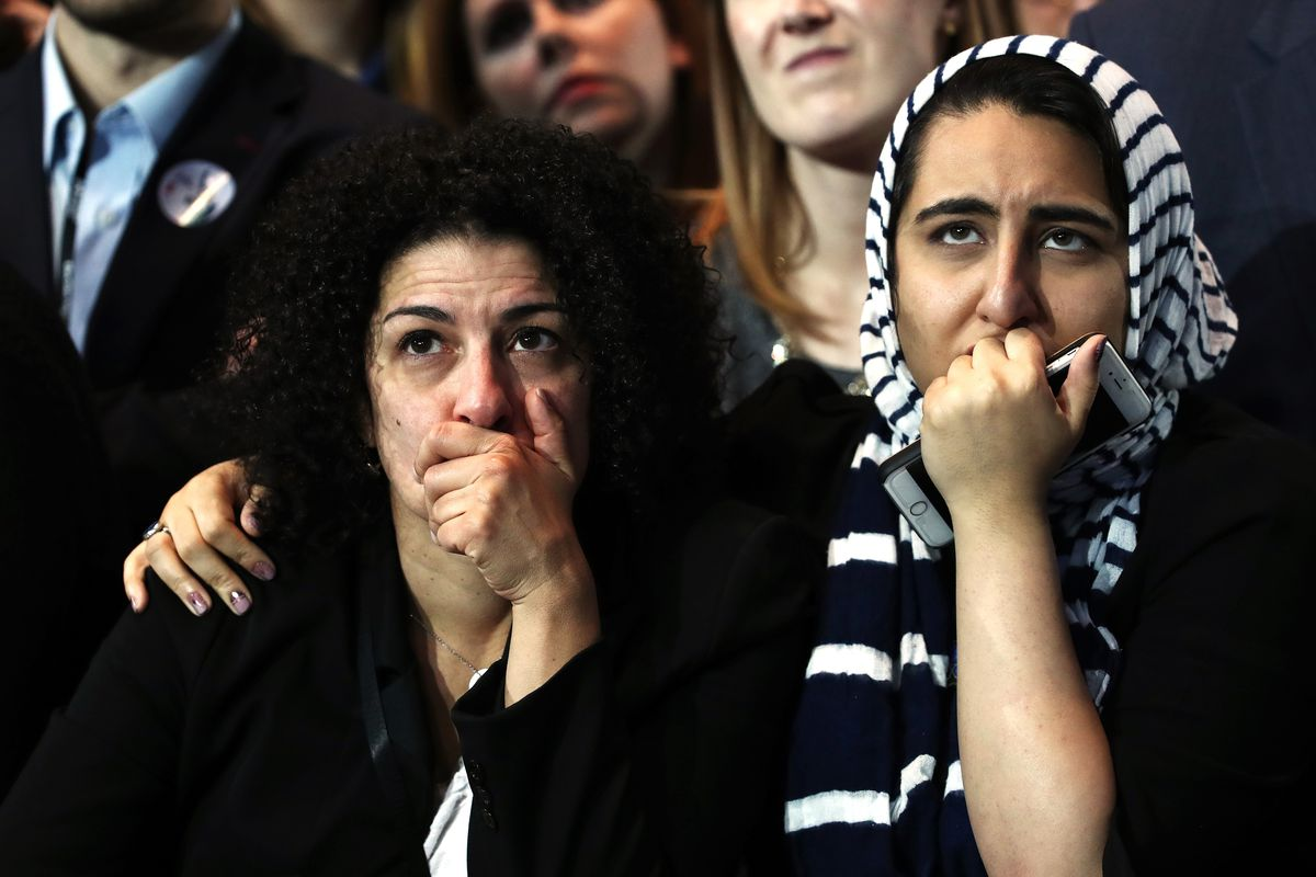 Two women hold their faces as they watch voting results at Democratic presidential nominee former Secretary of State Hillary Clinton's election night event at the Jacob K. Javits Convention Center November 8, 2016 in New York City.
