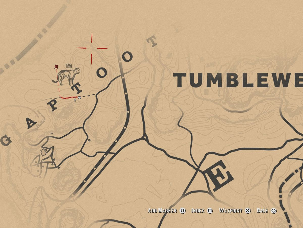 Red Dead Redemption 2 Legendary Cougar map
