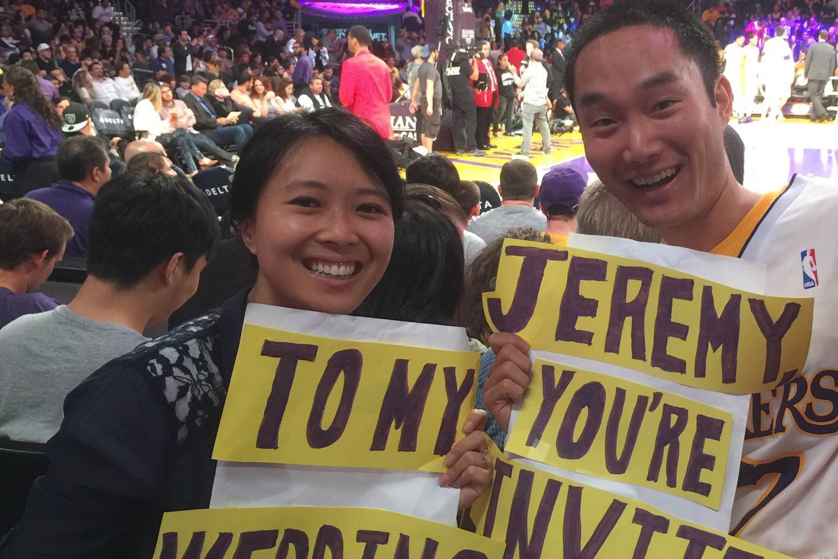 Meet the couple that invited jeremy lin to their wedding silver how far would you go to meet your favorite athlete for engaged couple eric fang and jessica wong the answer was to attend a lakers game and hold up a sign m4hsunfo Choice Image