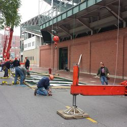 Before the raising of the mockup sign