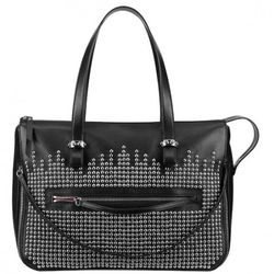 Edie shopping bag in black calf and silver, $1,395