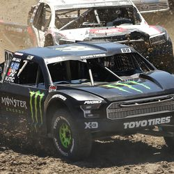 Kyle LeDuc in the Monster Energy 99 truck leads in the Pro 4 division as they compete in the Lucas Off-Road races in Tooele on Saturday, June 24, 2017.