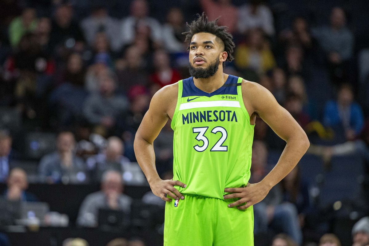 Minnesota Timberwolves center Karl-Anthony Towns looks on during the second half against the Toronto Raptors at Target Center.