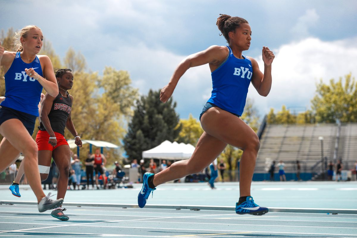 Jaslyn Gardner set a new school record in the 100-meter at the BYU Robison Invitational on Friday.