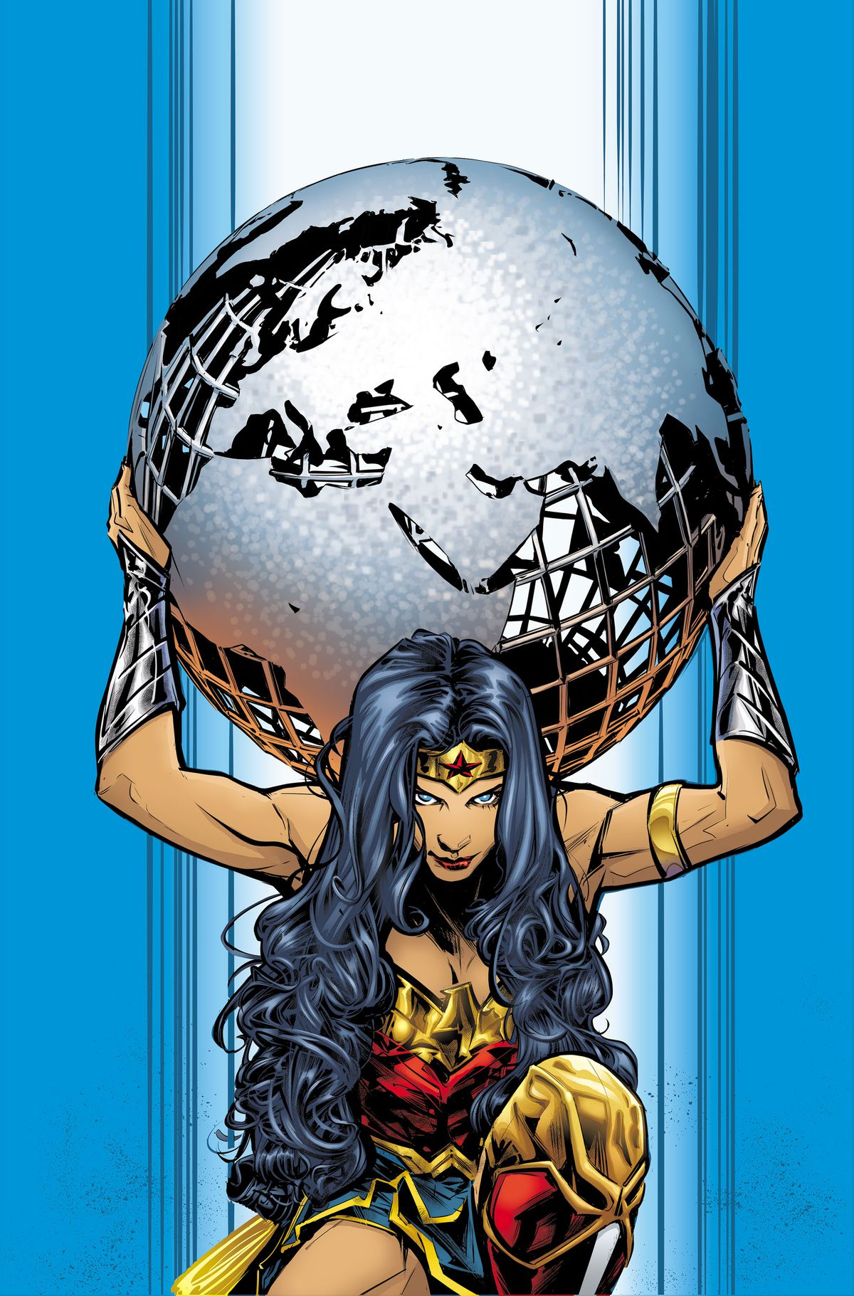 Wonder Woman holds a metal-wrought globe of the earth on her shoulders like Atlas, on the cover of Wonder Woman #750, DC Comics (2020).
