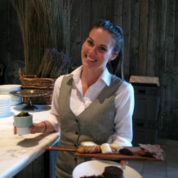 Serving the cheeseboard and TCHO Budino