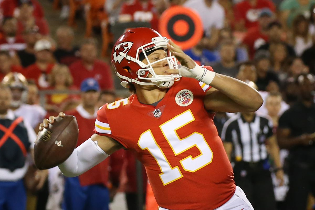 Kansas City Chiefs quarterback Patrick Mahomes (15) makes his first pass attempt as a Chief in the second quarter of an NFL week 1 preseason game between the San Francisco 49ers and the Kansas City Chiefs on August 11th, 2017 at Arrowhead Stadium in Kansas City, MO. The pass was completed for 41 yards but nullified due to offensive holding.