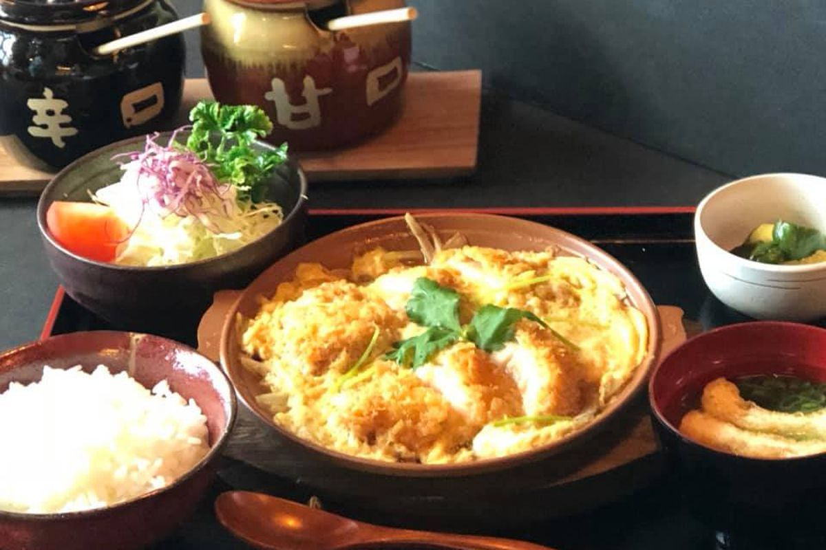 A set meal, including vegetables, rice and chicken katsu at the soon to debut Ton Ton Katsuya.