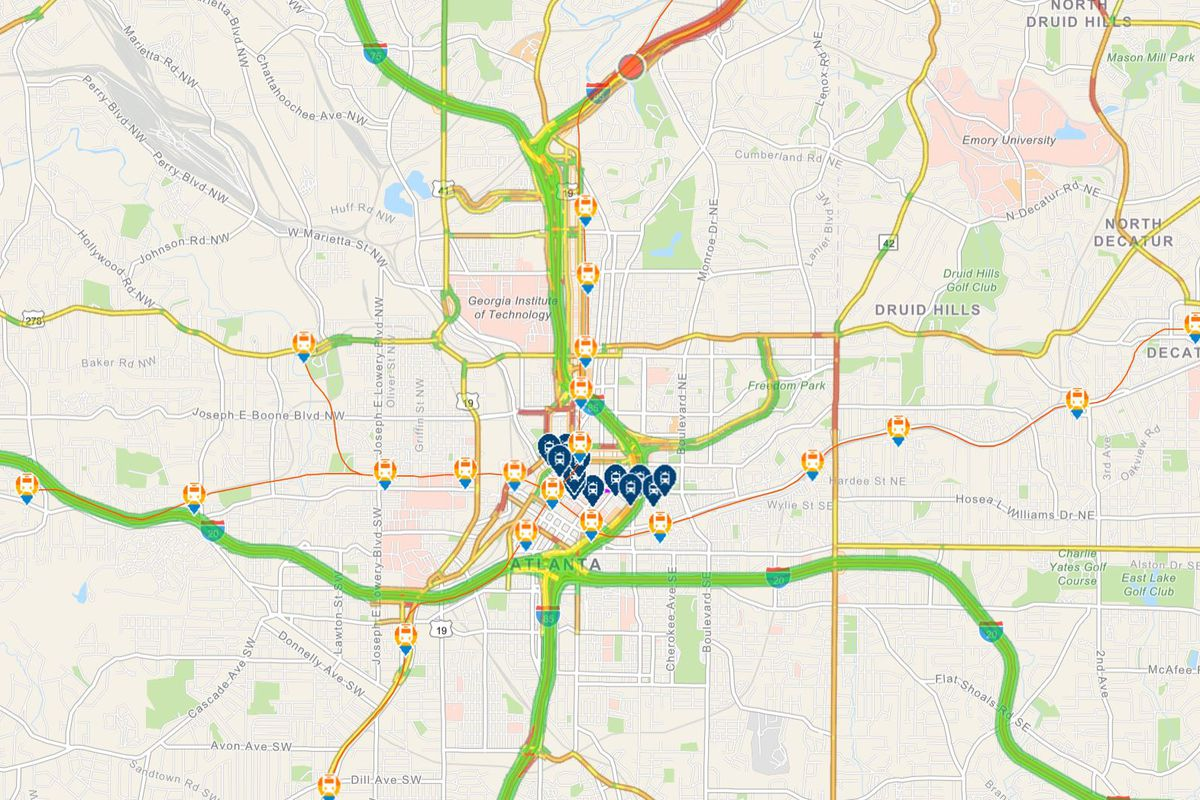 Atlanta Map Traffic.New Atlanta Commute Tool Highlights Traffic Transit And Parking