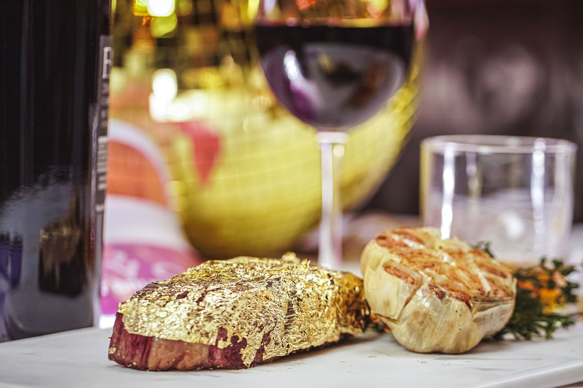 A 12-ounce wagyu strip steak crusted in 24-karat gold