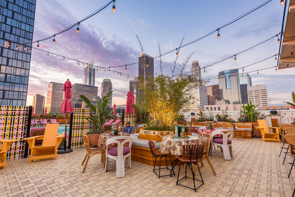 A rooftop bar with views of Downtown Los Angeles.
