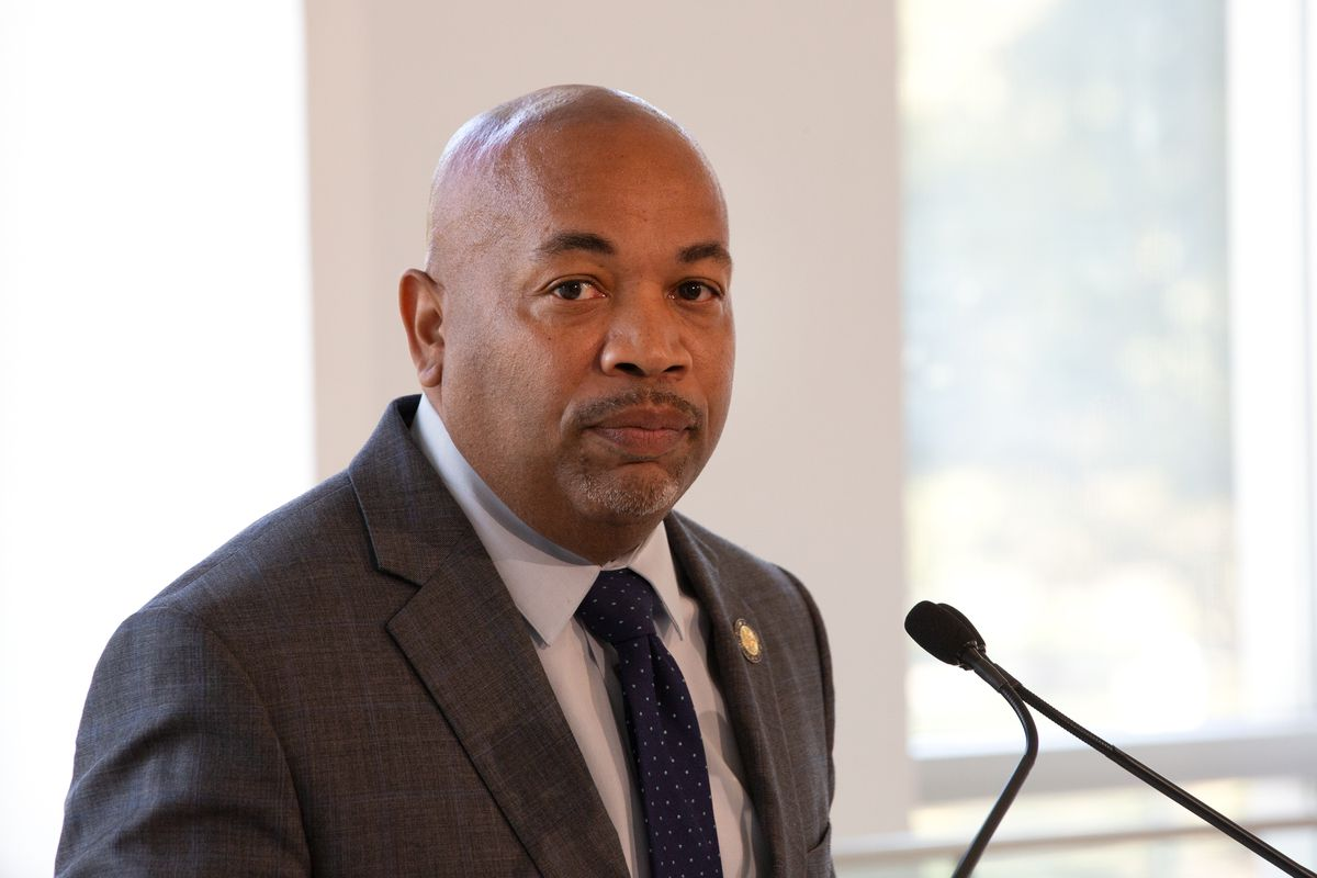 Assembly Speaker Carl Heastie spoke at the Queens Museum about providing Hurricane Ida relief to undocumented New Yorkers, Sept. 27, 2021.