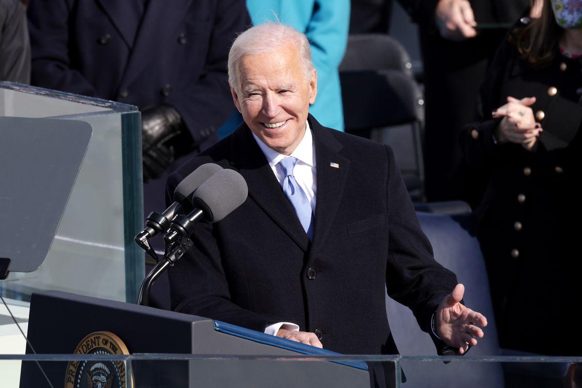 Joe Biden in front of microphones during his inaugural address.