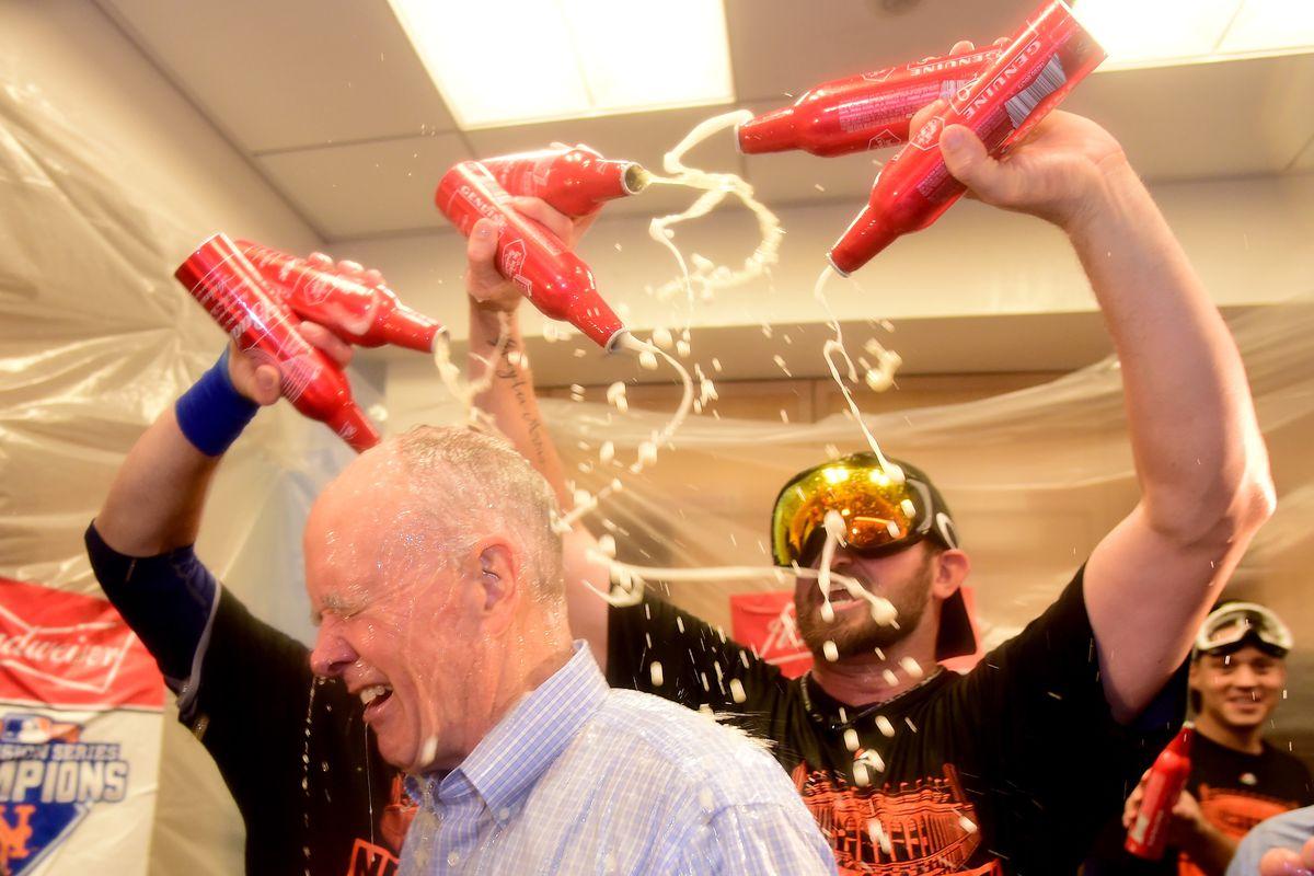 GM Sandy Alderson gets a beer shower.
