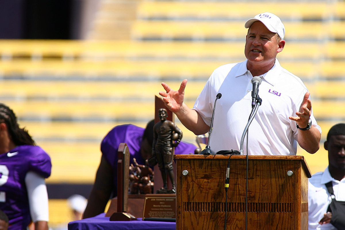 Mar 31, 2012; If LSU held a Spring Game and Les Miles spoke, but no one was actually there, DID HE STILL SOUND CRAZY?!?!