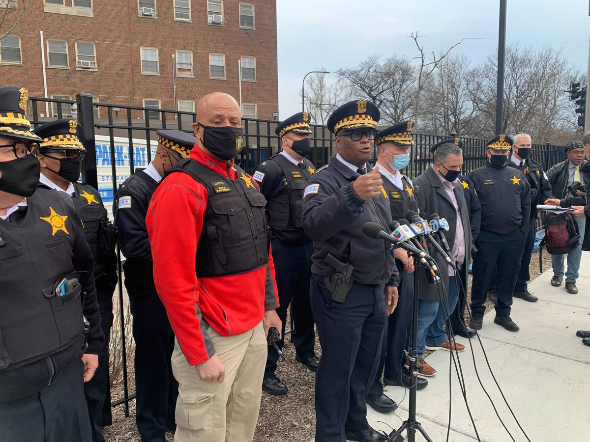 Police Supt. David Brown speaks to reporters after a CPD officer was shot March 25, 2021.