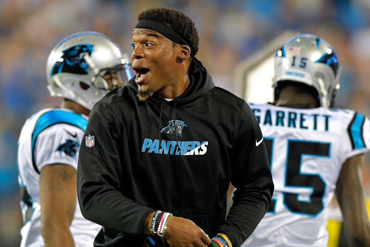 Cam Newton looking happy