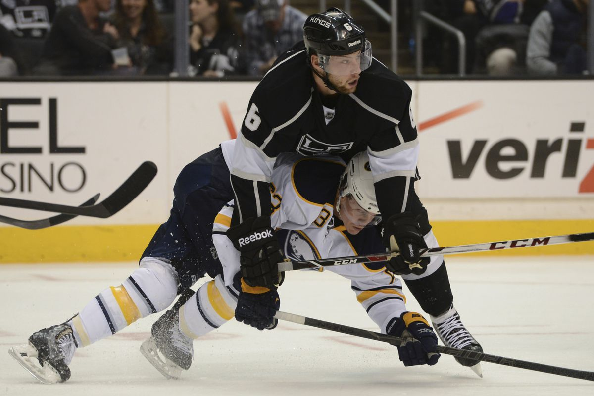Jake Muzzin knocking Ville Leino out of existence
