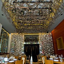 Dramatic fixtures hang from the ceiling and walls
