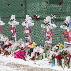 A memorial for the five people killed in a shooting at the Henry Pratt Company in Aurora in February 2019.   Ashlee Rezin/Sun-Times