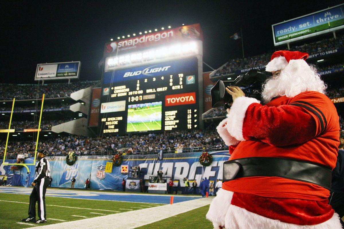 Santa runs a camera at football games? This economy really does suck.