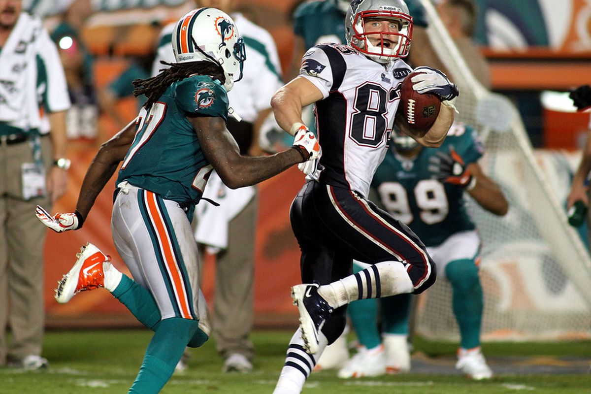 """Wes Welker was one of two Patriots players to receive a mark of """"+3"""" for Monday's game against the Dolphins."""