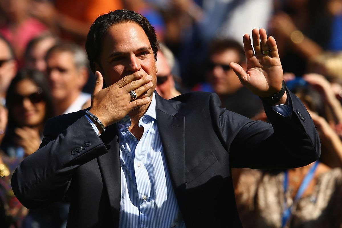 """Mike Piazza is covering his mouth because he's embarrassed that he hasn't """"Liked"""" the AA Facebook page yet."""